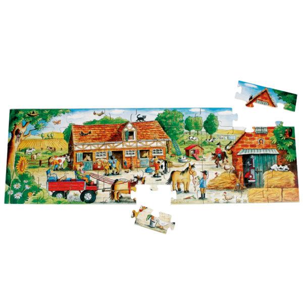 Gesamtansicht des 45-teiligen Bodenpuzzles Pony Farm für Kinder ab 3 Jahren