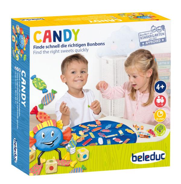 Verpackung des Gesellschaftsspiels Candy von beleduc für Kindergartenkinder