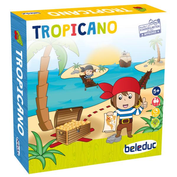 """Verpackung des Brettspiels """"Tropicano"""" für Kinder im Kindergartenalter."""