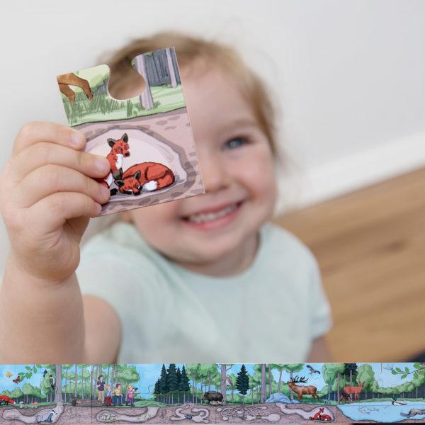 Detail- und Gesamtansicht des 40-teiligen Bodenpuzzles für Kindergartenkinder ab 3 Jahren