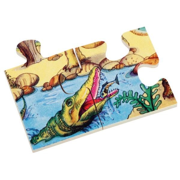 Detailansicht eines der stabilen, 6 mm dicken Holzteile des Bodenpuzzles Dino