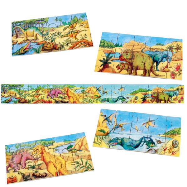 Gesamtansicht des 40-teiligen Bodenpuzzles Dino für Kinder ab 3 Jahren sowie der vier Einzelpuzzles, die zusammen das Gesamtbild ergeben