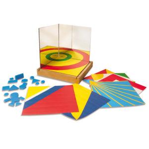 Zauberspiegel inklusive 3 Sicherheitsspiegeln, Kartonkarten mit verschiedenen Mustern und Formen sowie Kunststoffplättchen für Kinder ab dem Kindergartenalter