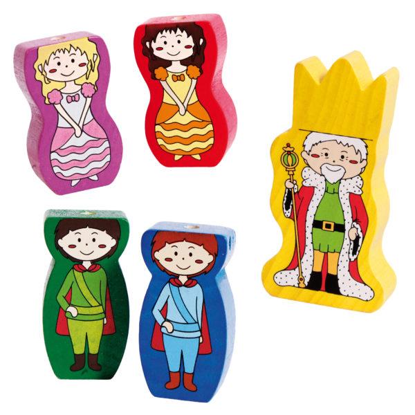 Folgende 5 Holzfiguren sind Teil des Tischspiels Castelino: 2 Prinzessinnen, 2 Prinzen, 1 König