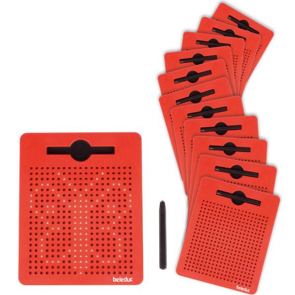 Gesamtbild des Inhalts: 12 kleine Magnetzeichentafeln von beleduc
