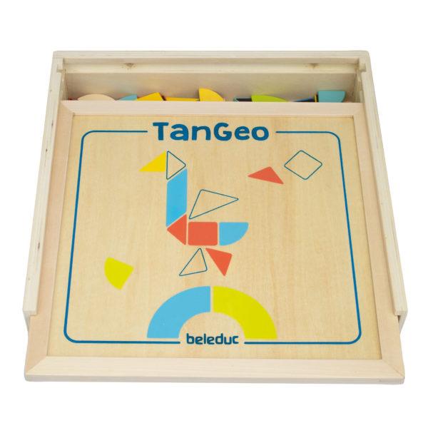 Verpackung aus Holz des Lernspiels Tangeo für 1 bis 2 Kinder ab 3 Jahren