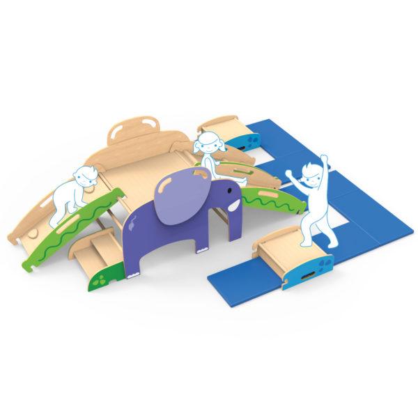 Variante einer der unzähligen Bewegungslandschaften, die mit dem Wild Climber für Kinder ab dem Krippenalter gebaut werden können.