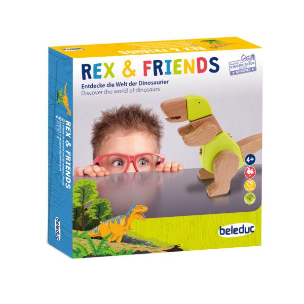 Verpackung des 64teiligen Dino-Sets Rex & Friends für Kinder ab dem Kindergartenalter.