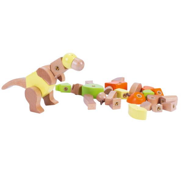 33 Holzbauteile sind im Set Rex & Friends enthalten. Aus diesen können undendlich viele Fantasie-Dinos gebaut werden.