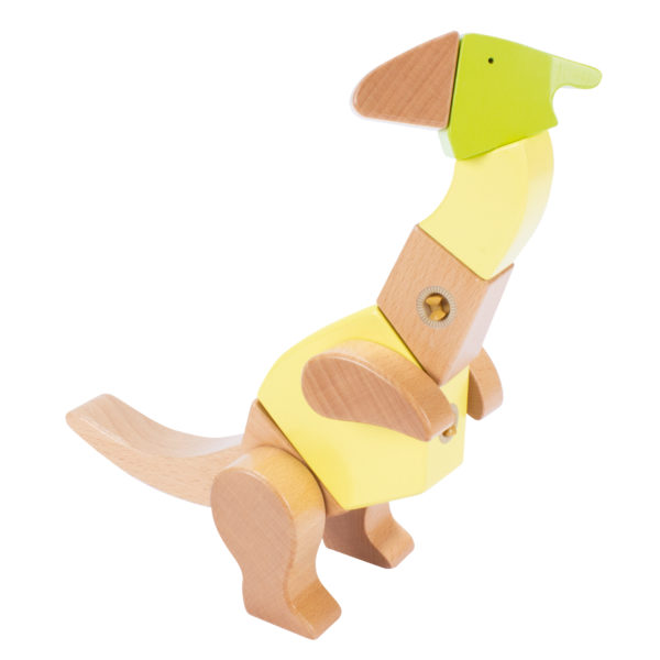 Fantasie-Dino gebaut aus Holzbauteilen des Sets Rex & Friends für Kinder ab 3 Jahren