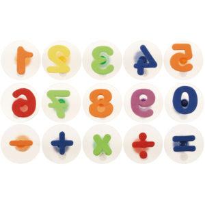 15-teiliges Stempelset mit Zahlen und Rechenzeichen für Kinder ab dem Kindergartenalter