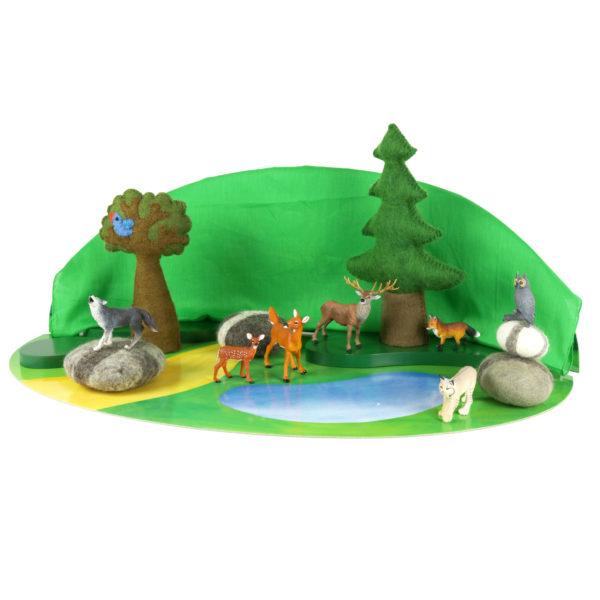 """Tierfiguren-Set """"Waldtiere"""" bestehend aus 7 unterschiedlichen Tieren - vom Fuchs bis zur Eule"""