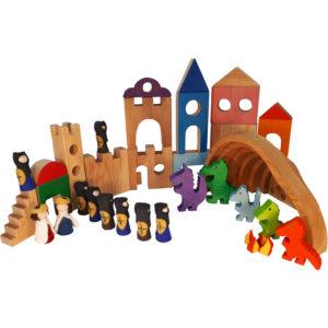46-teiliges Drachenburg-Set mit Drachen- und Menschenfiguren aus Holz und Filz sowie Bauteilen für Gebäude