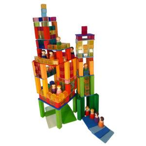 264-teiliges Bauset bestehend aus Holzfiguren, Acrylbausteinen, bunten und naturfarbenen Bausteinen zum Erschaffen von Hochhäusern und kleinen Welten