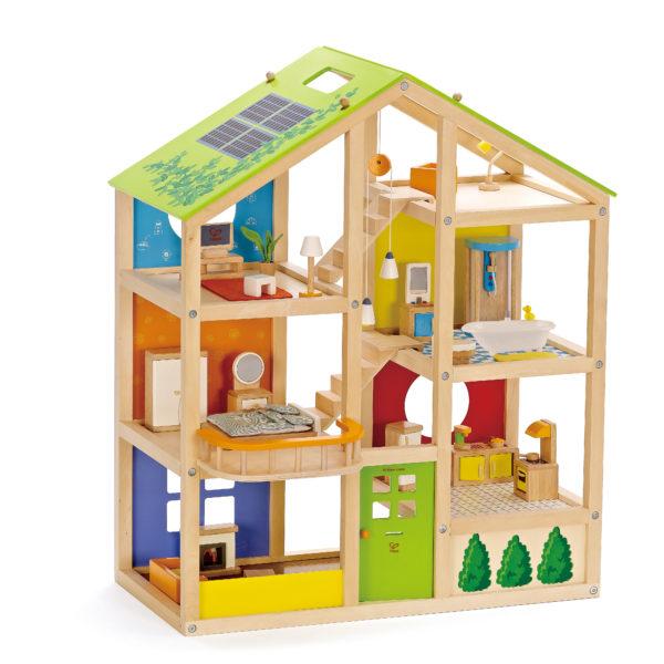 Vier-Jahreszeiten Haus aus Holz mit sechs möblierten Zimmern für Kinder ab dem Kindergartenalter zur Förderung von Rollenspielen und der Kreativität