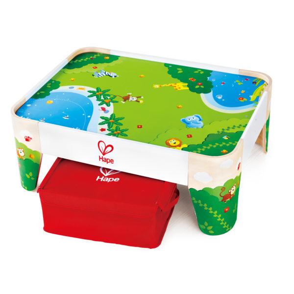 Eisenbahn Spieltisch für Kinder ab dem Krippenalter mit mitgelieferter Aufbewahrungsbox für die Züge und Schienen