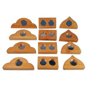 Holzbausteine mit Plexiglasspiegeln in der Mitte in 3 verschiedenen Formen zum Bauen und Gestalten für Kinder ab dem Kindergartenalter
