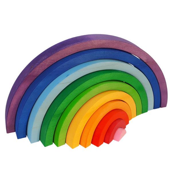 Regenbogen aus Holz in den sieben Regenbogenfarben. Ergibt einen Halbkreis