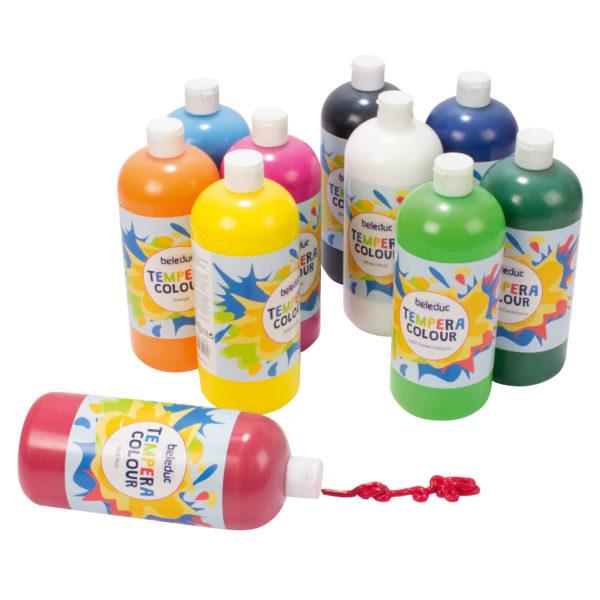 Temperafarben für Kinder: 10 Flaschen in 10 Farben je 1 Liter