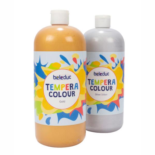 Temperafarben für Kinder: 2 Flaschen in den Farben Gold und Silber je 1 Liter