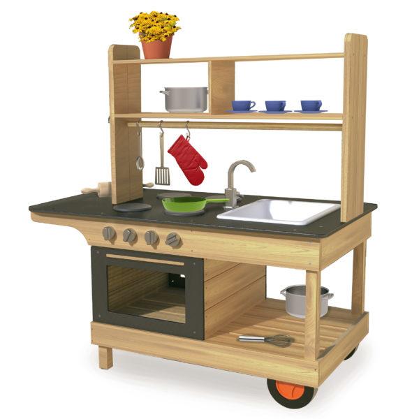 Mobile Matsch-Küche für Kinder ab dem Kindergartenalter aus robustem wetterresistentem Holz mit einer breiten Arbeitsfläche zum Bespielen von beiden Seiten