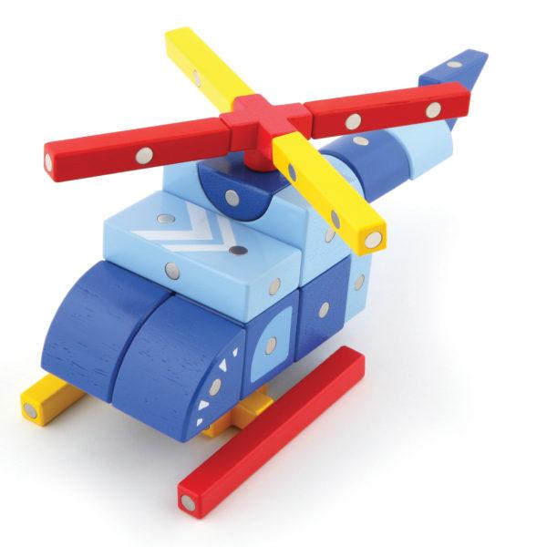Hubschrauber gebaut aus Genii Magnetbausteinen für Kindergartenkinder