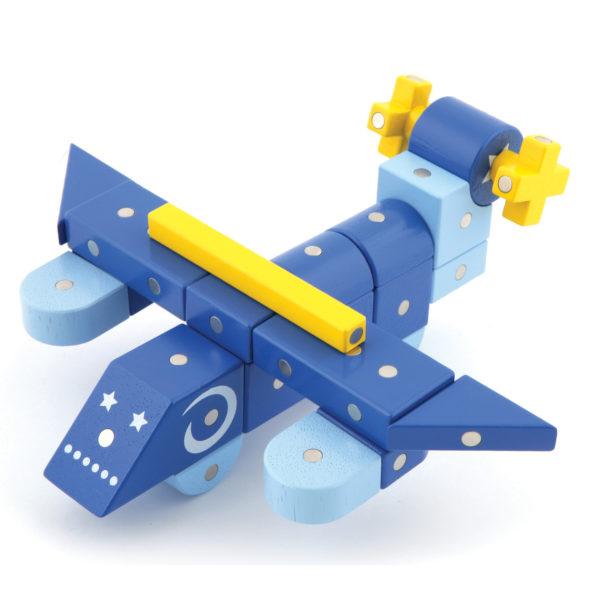 Flugzeug gebaut aus Genii Magnetbausteinen für Kindergartenkinder