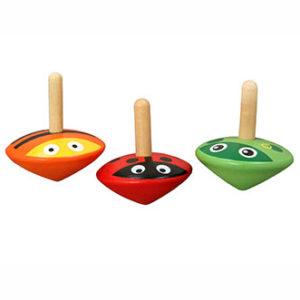Kleine Holzkreisel für Kinder mit Tiermotiven