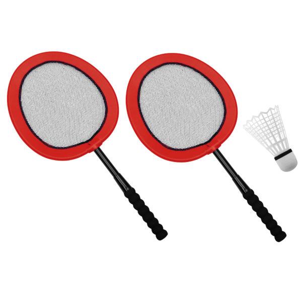 Das Mega Badminton Set betseht aus 2 überdimenstionalen Schlägern und 2 Federbällen