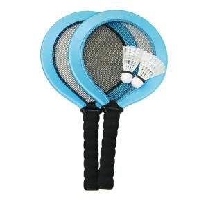 Badminton Set mit kurzem Stiel speziell für Kinder bestehend aus 2 Schlägern und 2 Bällen