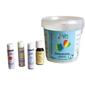 Seifenknete Set zum kinderleichten Herstellen von individuellen Seifen inklusive Farben und Duftöl