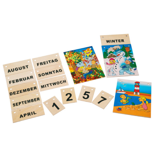 Jahreskalener aus Holz für Kinder in Kindergarten- und Schulalter
