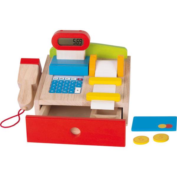 Kasse aus Holz für Kaufmannsladen für Kinder in Kindergarten- und Schulalter