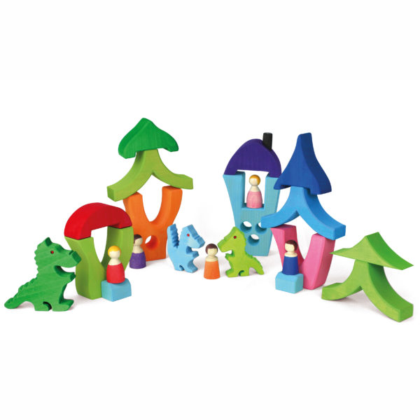 Fantasiewelt aus Holzbausteinen für Kinder hergestellt in Deutschland