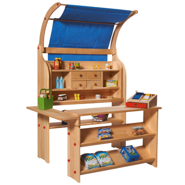 Kaufladen aus Holz für Kinder in Kindergarten- und Schulalter