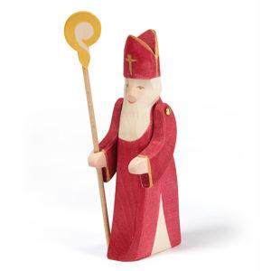 Heiliger Nikolasu mit Esel aus Holz für Kinder