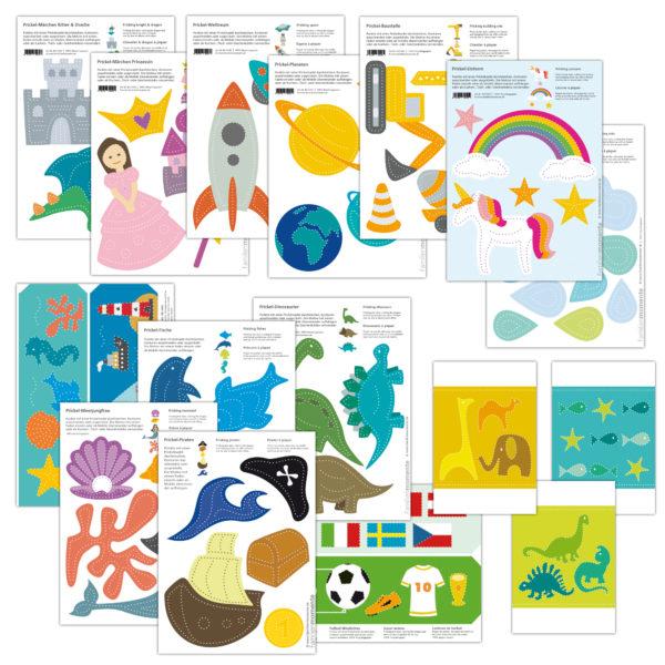 Fantasievolle Prickelmotive zum Basteln für Kinder