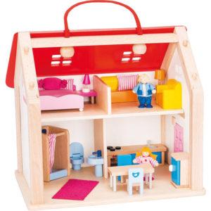 Koffer Puppenhaus Holz für Kinder in Kindergarten- und Schulalter