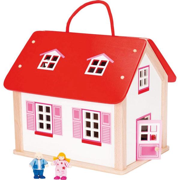 Koffer Puppenhaus aus Holz für Kinder in Kindergarten- und Schulalter