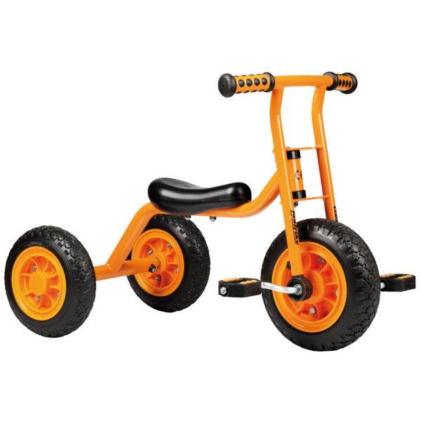 Seitenansicht des orangfarbenen kleinen Dreirads von beleduc für Kinder ab dem Krippenalter