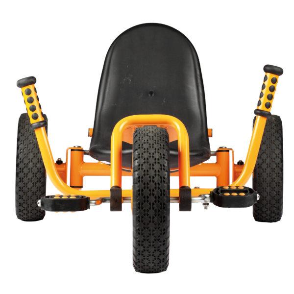 Frontansicht des Dreirads Rider mit niedrigem Sitz und beidseitiger Lenkvorrichtung in Höhe des Sitzes