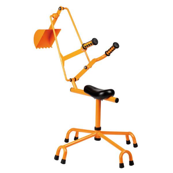 Sandbagger von beleduc mit drehbarem Sitz und robuster Schaufelvorrichtung in orange für Kinder ab dem Kindergartenalter.