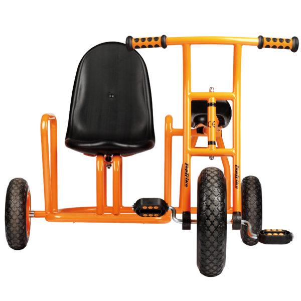 Frontansicht des Dreirads Seitenwagen mit zusätzlichem Beifahrersitz neben dem Fahrersitz für 2 Kinder ab 4 Jahren