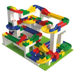 Baubeispiel der Duplo® kompatiblen Kugelbahn für Kinder ab 3 Jahren.