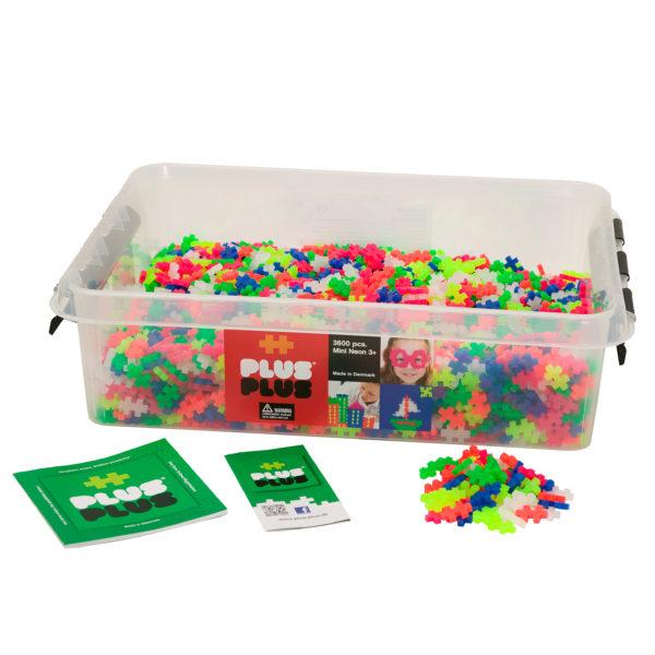 Plus Plus Mini Bausteine Neon Konstruktionsmaterial für Kinder in Kindergarten-und Schulalter