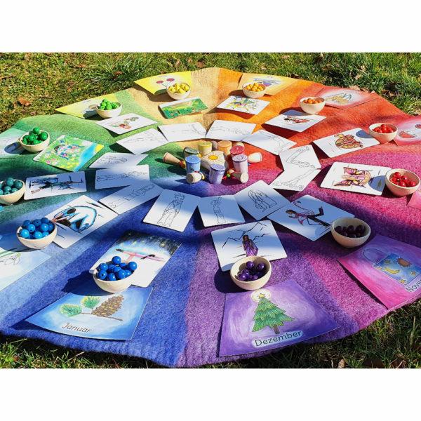 Yogakarten Set XL Kinderyoga karten auf Farbenkreis