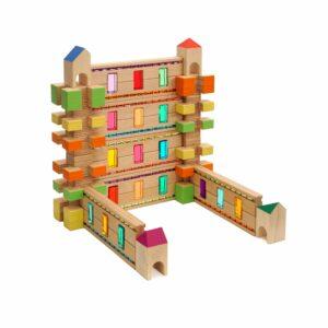 Lichtleiste Regenbogenland Konstruktion mit Holzbausteinen für Kinder in Kindergarten- und Schulalter