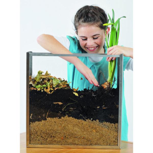 Kind setzt Pflanze in Wurzelkasten ein