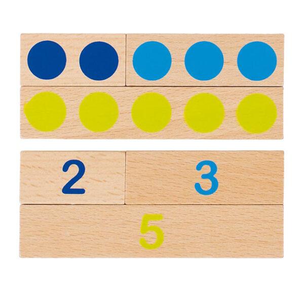Rechnstäbe mit Punkten und Zahlen