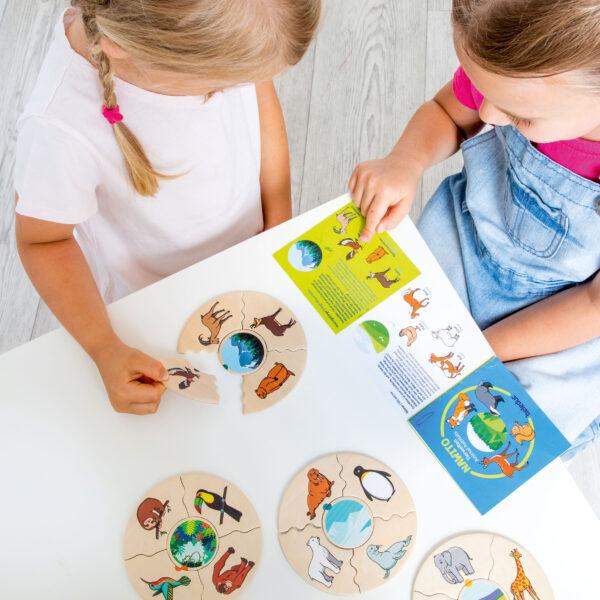Kinder legen Lernpuzzle Nawito Tierwelten